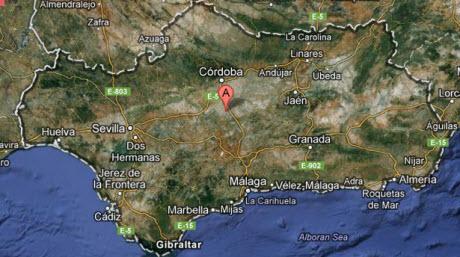 Karta över Andalusien
