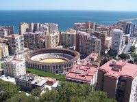 Malaga på spanska solkusten från ovan