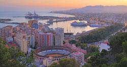 Utsikt över hamnstaden Malaga