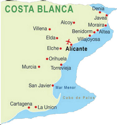 karta över alicante kusten Costa Blanca karta | Spanska Fastigheter karta över alicante kusten