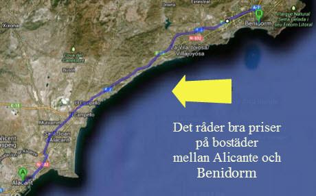 Sträckan mellan Alicante och Benidorm, Google kartor