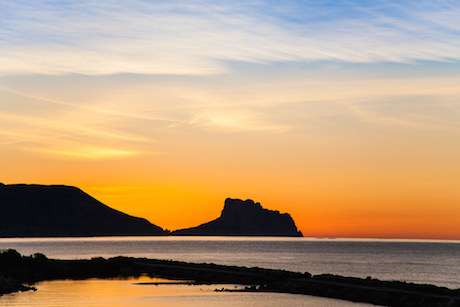 Solnedgång i Altea i Spanien