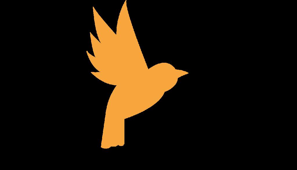 Gul fågel flyger