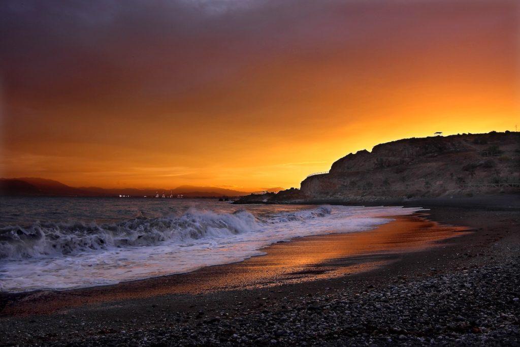 Solnedgång strand i Malaga