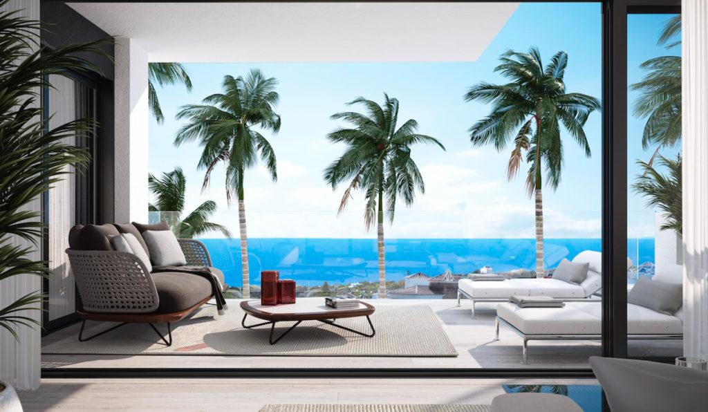 Utsikt över hav från nybyggd bostad