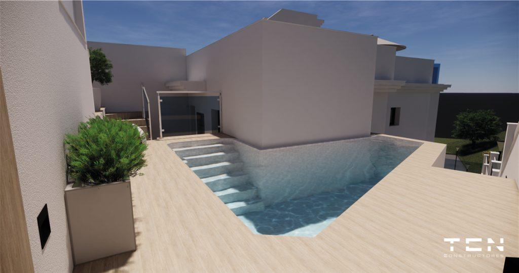 I princip nyckelfärdigt hus med pool och takterrass i Nerja