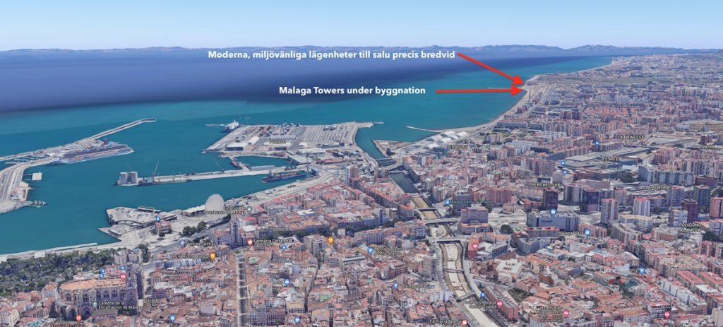 Nyproduktion i Malaga – nya lägenheter till salu bredvid Malaga Towers first line