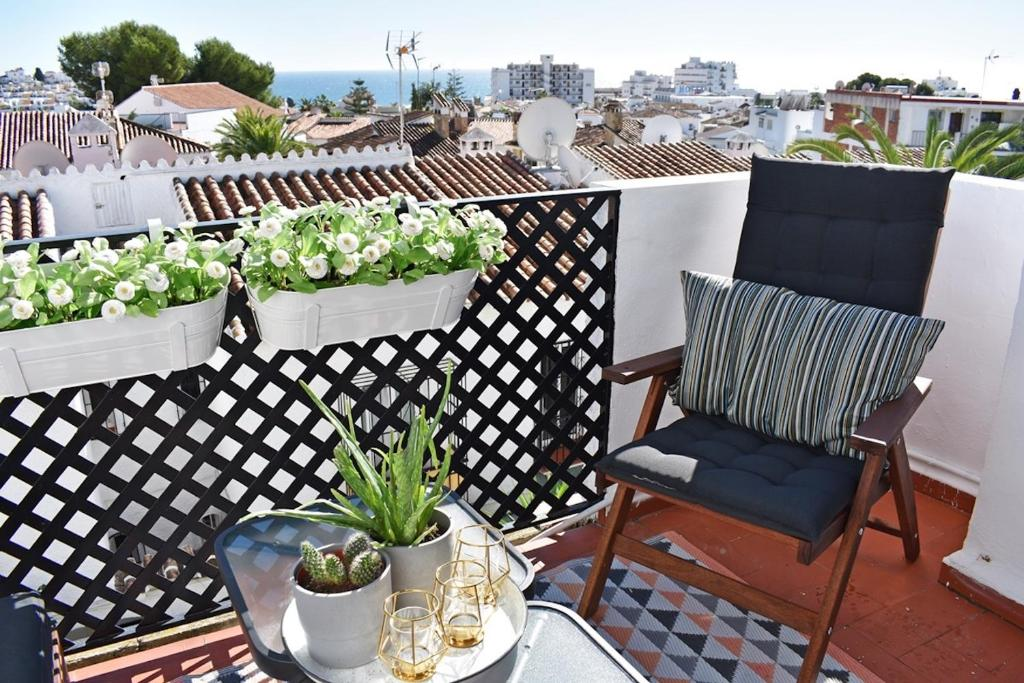 Lägenhet med 1 sovrum och havsutsikt i Verano Azul i Nerja